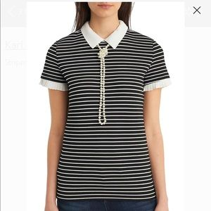 Karl Lagerfeld Striped Collar Top with Pearls S